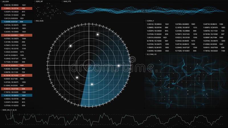 Radar GUI screen. Computer generated graphic stock illustration