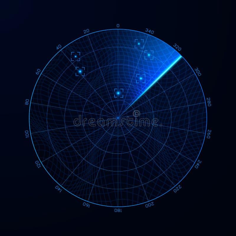 Radar, i sökande Militär illustration för ljus från radarskärm för sökandesystem Mål på ljus från radarskärm Blå navigeringmanöve stock illustrationer