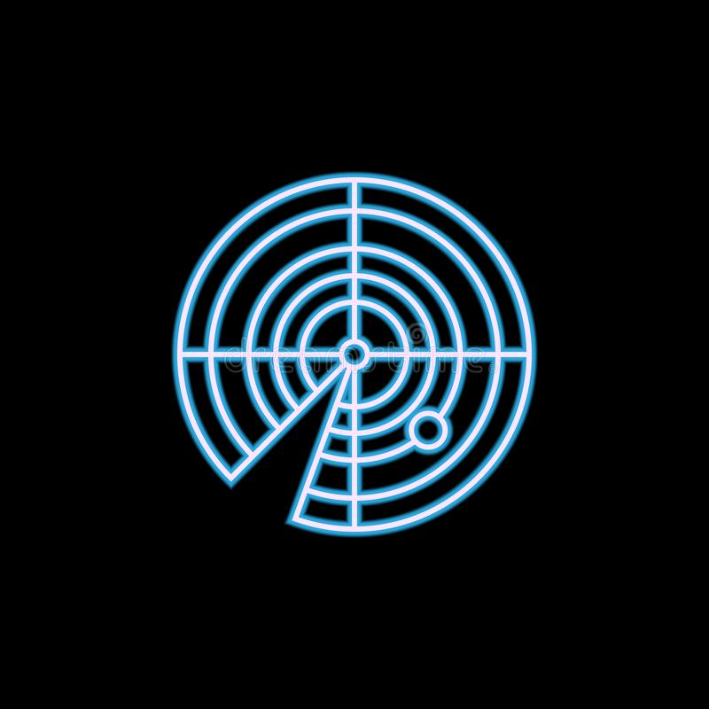 Radar icon in neon style. One of Military collection icon can be used for UI, UX. On black background royalty free stock images