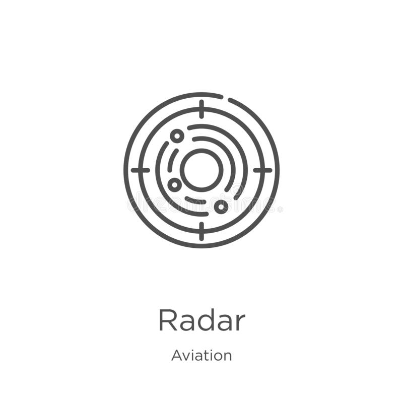 Radar icon vector from aviation collection. Thin line radar outline icon vector illustration. Outline, thin line radar icon for. Radar icon. Element of aviation royalty free illustration