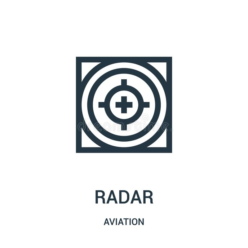 Radar icon vector from aviation collection. Thin line radar outline icon vector illustration. Linear symbol for use on web and. Mobile apps, logo, print media stock illustration