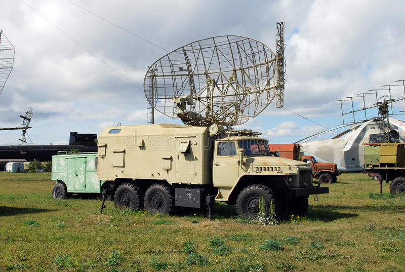 Radar installation on the basis of the car the Urals in the Technical museum of a name of Sakharov under the open sky stock photos