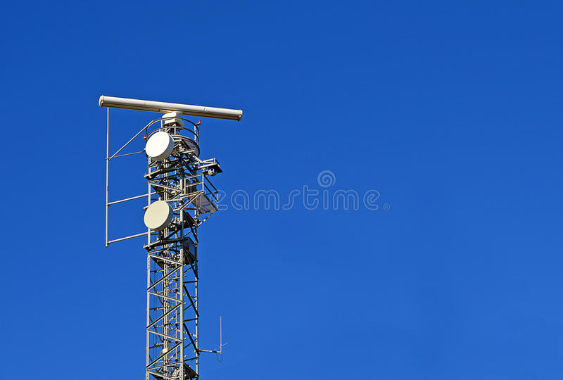 A Radar. Mast on a Spanish headland in Valencia stock images