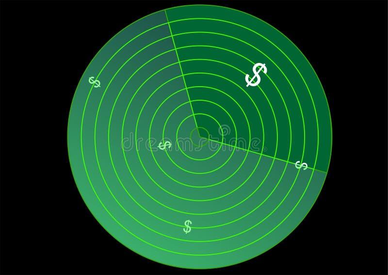 Radar met dollarteken stock illustratie