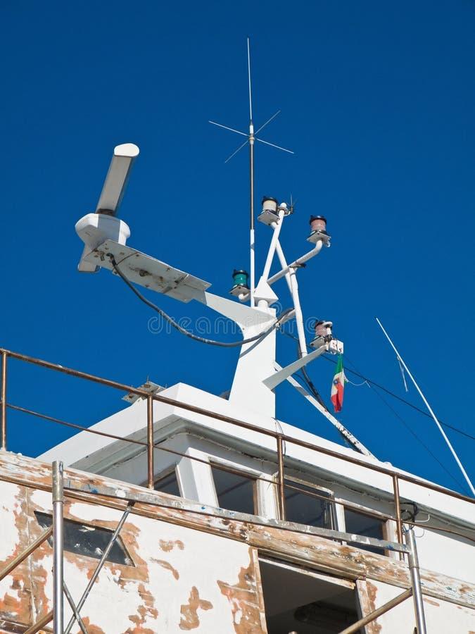 Radar naval. fotografía de archivo