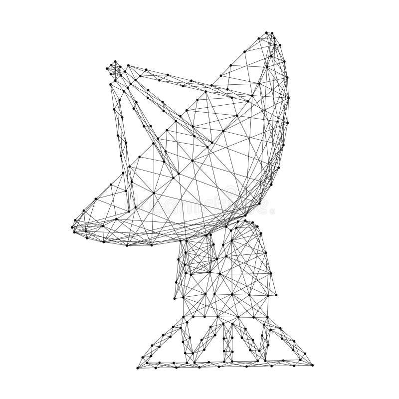 Radar parabolique de l'espace d'antenne parabolique d'antenne des lignes et des points noirs polygonaux futuristes de résumé Illu illustration stock