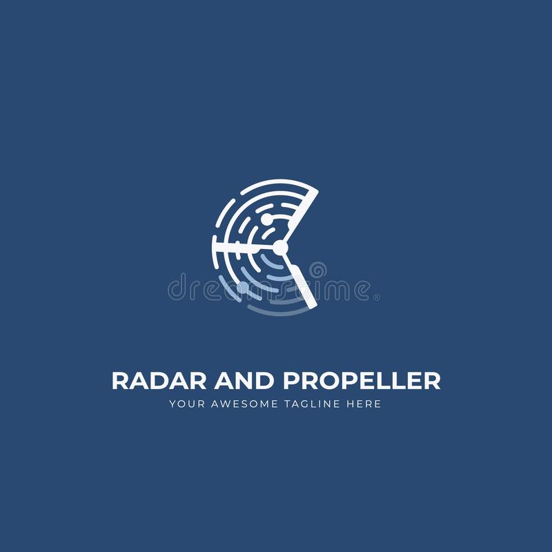 Radar and propeller uav drone logo icon symbol with blue navy background stock illustration