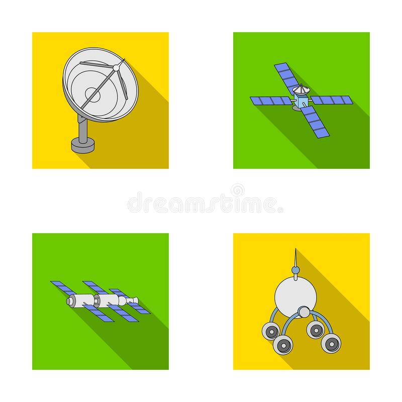 Radar radiofonico, mettentesi in bacino in veicolo spaziale dello spazio, Lunokhod Le icone stabilite della raccolta di tecnologi illustrazione vettoriale