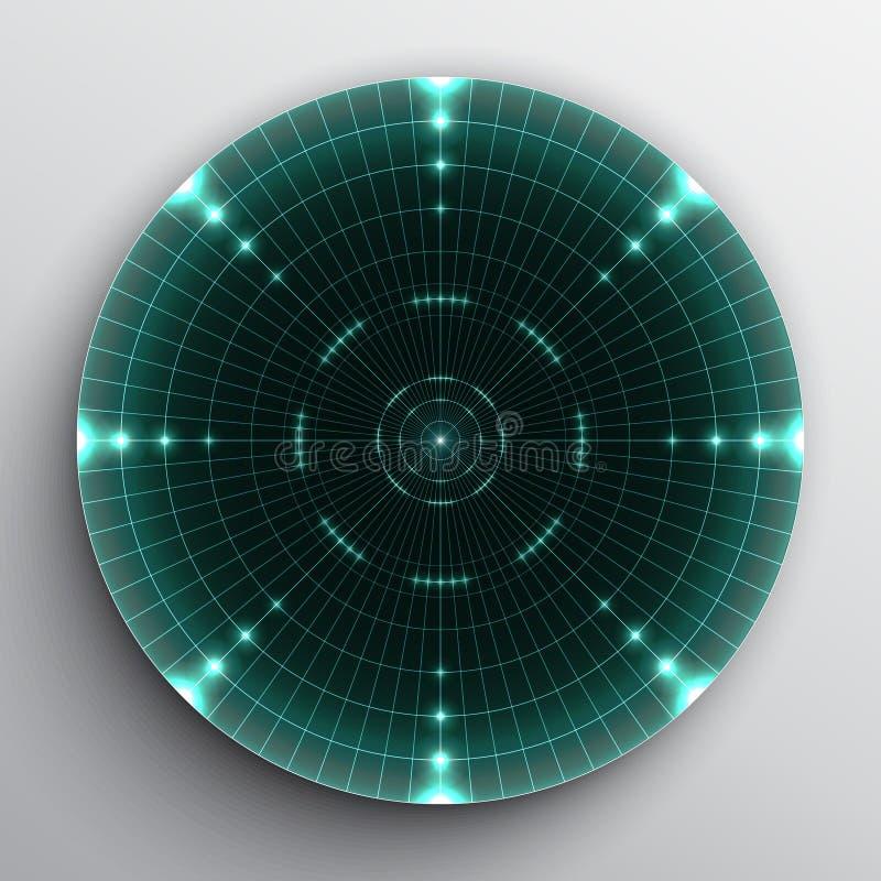 Target on white. Radar range on white background stock illustration