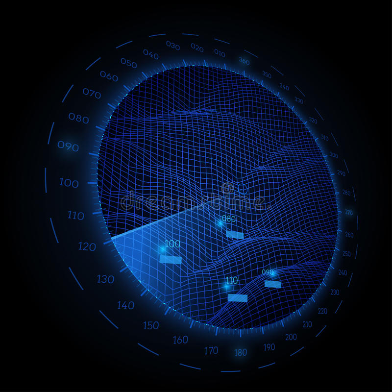 Radar round screen in perspective, on black background. Vector illustration. royalty free illustration