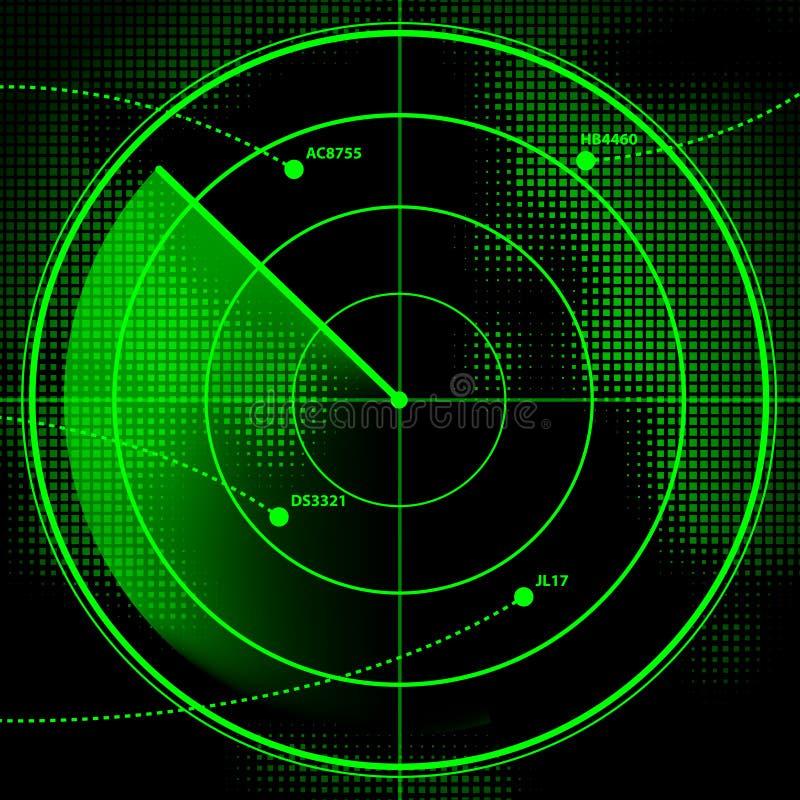 Radar Screen. A green radar screen with incoming aircraft royalty free illustration