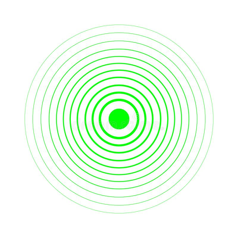 Radar screen concentric circle elements. Vector illustration for sound wave. Black and green color ring. Circle spin target. Radio vector illustration