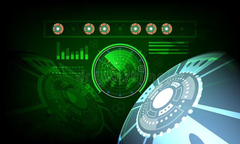 Radar screen digital interface with world map Concept future in computer network technology time data communication on green dark stock illustration