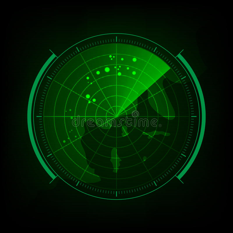 Radar screen with futuristic user interface and digital world ma vector illustration