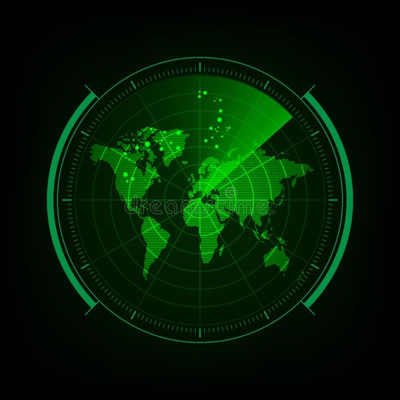 Radar screen with futuristic user interface and digital world ma. P stock illustration