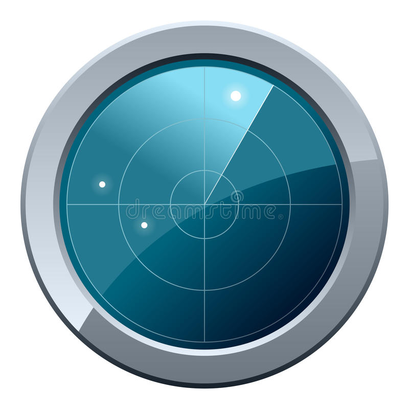 Radar Screen Icon. Glossy round radar screen icon, isolated on white background. Eps file available royalty free illustration