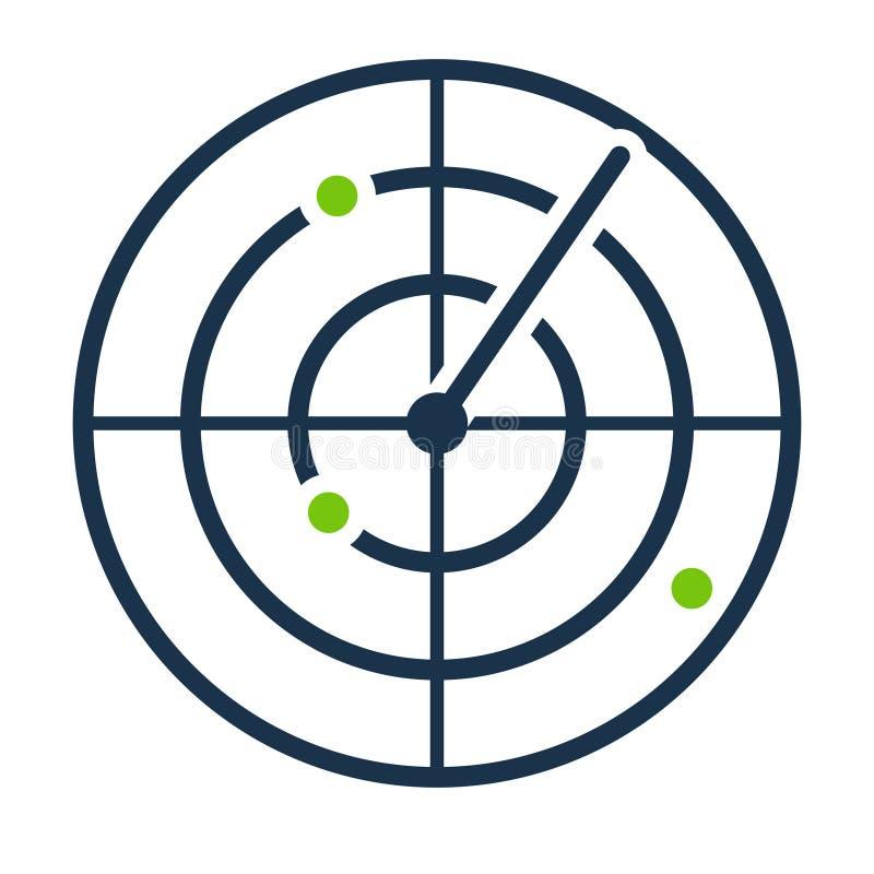 Radar screen icon. stock illustration