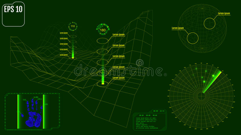 Radar screen with planet, map, targets and futuristic user inter stock illustration