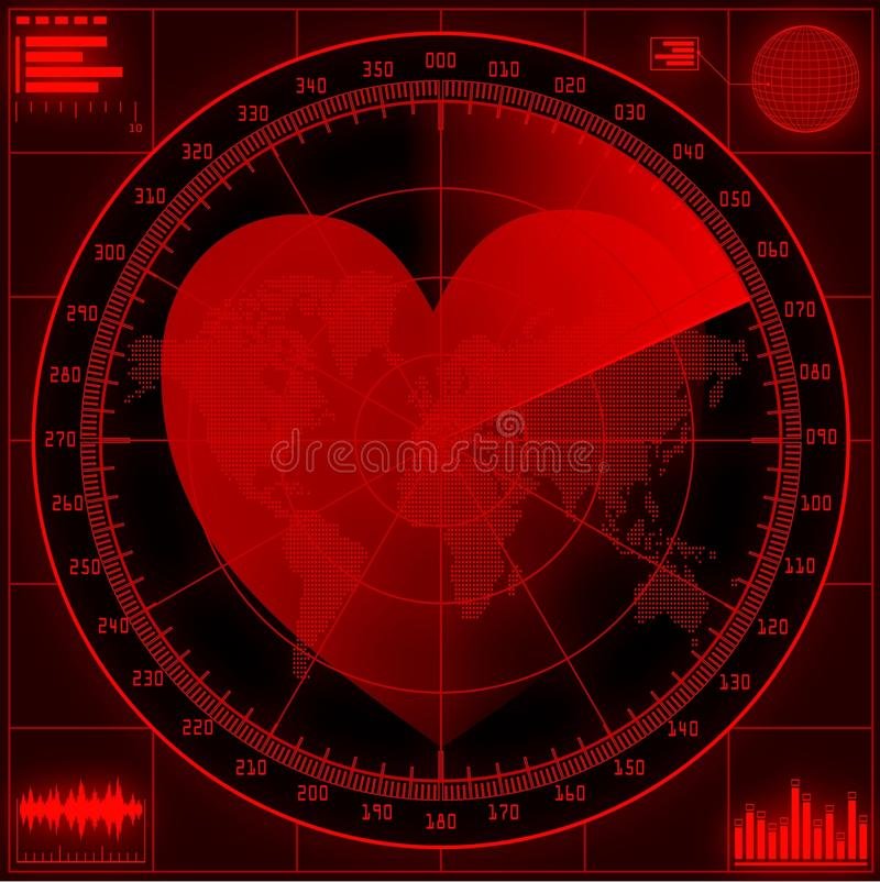 Radar screen with red heart. stock illustration