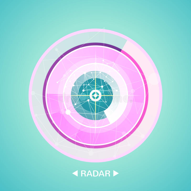 Radar screen with targets in process ,dynamic illustration . Conceptual design of military radar screen. Vector stock illustration