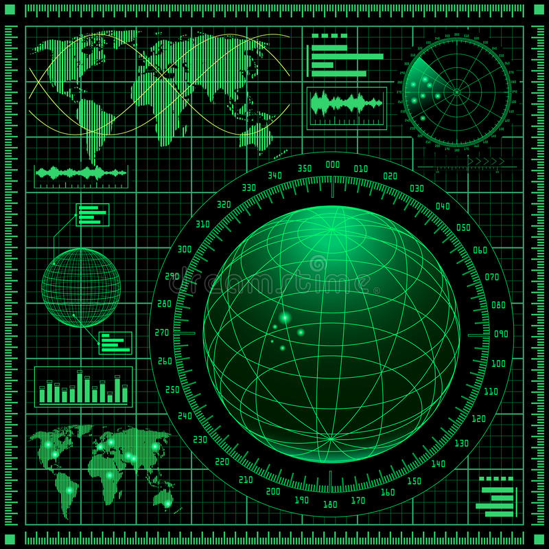 Radar screen with world map royalty free illustration
