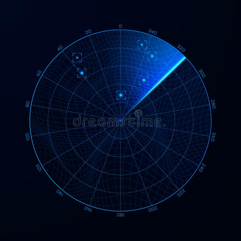 Radar in searching. Military search system blip illustration. Target on blip. Blue navigation interface. Vector stock illustration