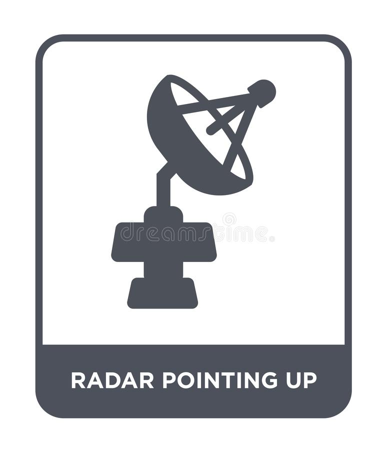 radar som pekar upp symbol i moderiktig designstil radar som pekar upp symbolen som isoleras på vit bakgrund radar som pekar upp  stock illustrationer