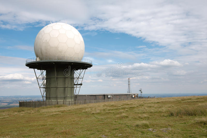Radar Station Dome. Dome of the National Air Traffic Control Radar Station in the Clee Hills. Shropshire, England stock photos