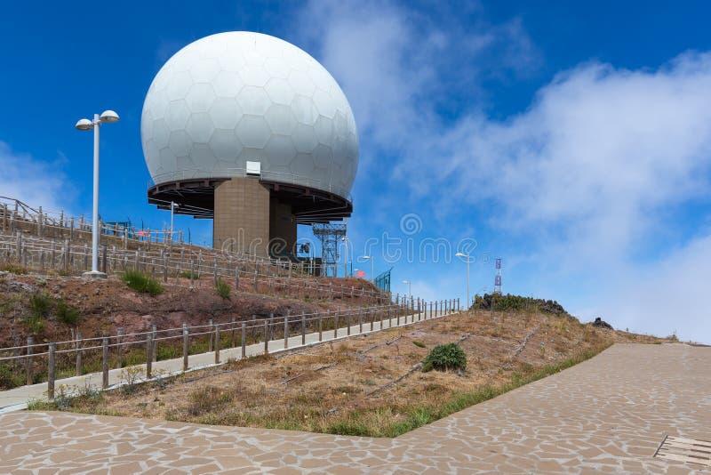 Radar station at top of Pico do Arieiro, Madeira Island. Portugal stock image