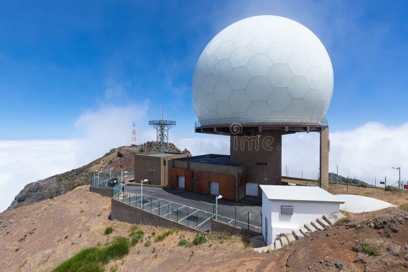 Radar station at top of Pico do Arieiro, Madeira Island. Portugal royalty free stock photos