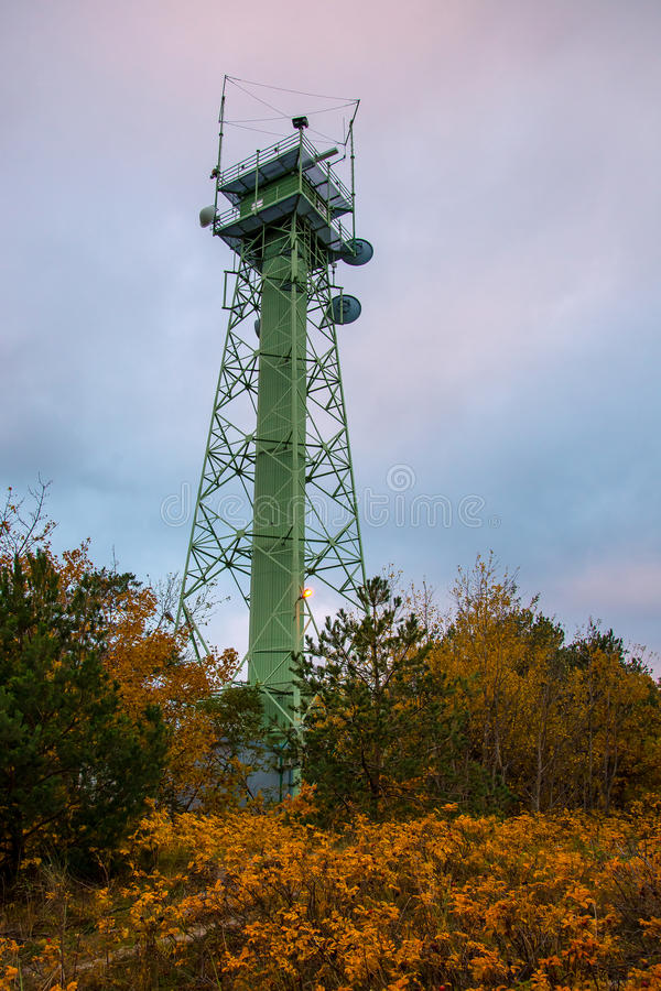 Radar tower. Autumn view of the Border Guard radar towers standing on the dunes Jastarni Pollska royalty free stock image