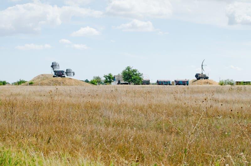 Radar-tracking system in airfield in Crimea. The radar-tracking system of landing of planes in airfield in the Kirovskoe, Crimea, Russian stock photo