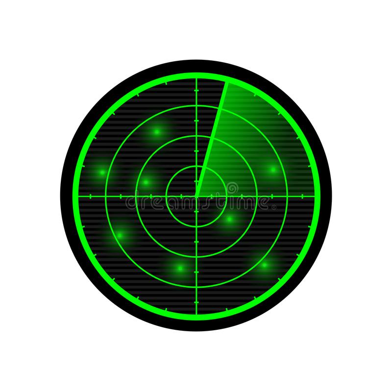 Radar vectorillustratie Groene radarvertoning stock illustratie