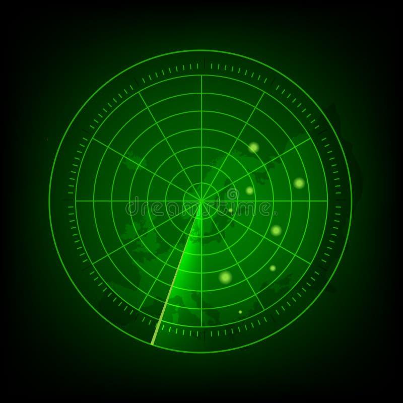 Radar verde abstrato com alvos na ação Sistema de busca militar ilustração royalty free