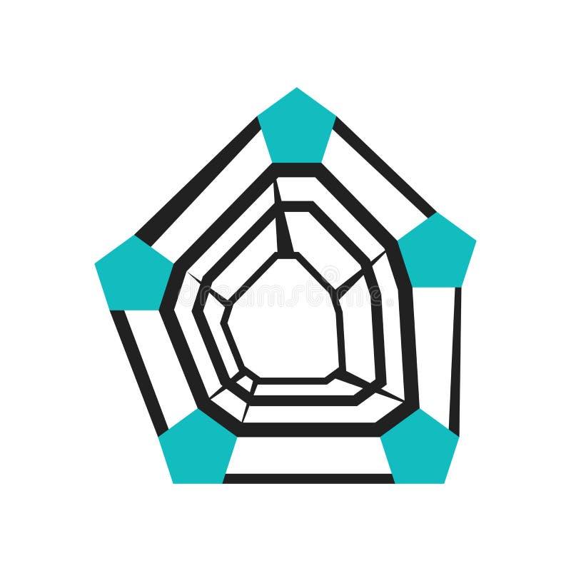 radarowa mapa z pentagonu kształta ikony wektoru znakiem i symbol odizolowywający na białym tle, radarowa mapa z pentagonu kształ ilustracji