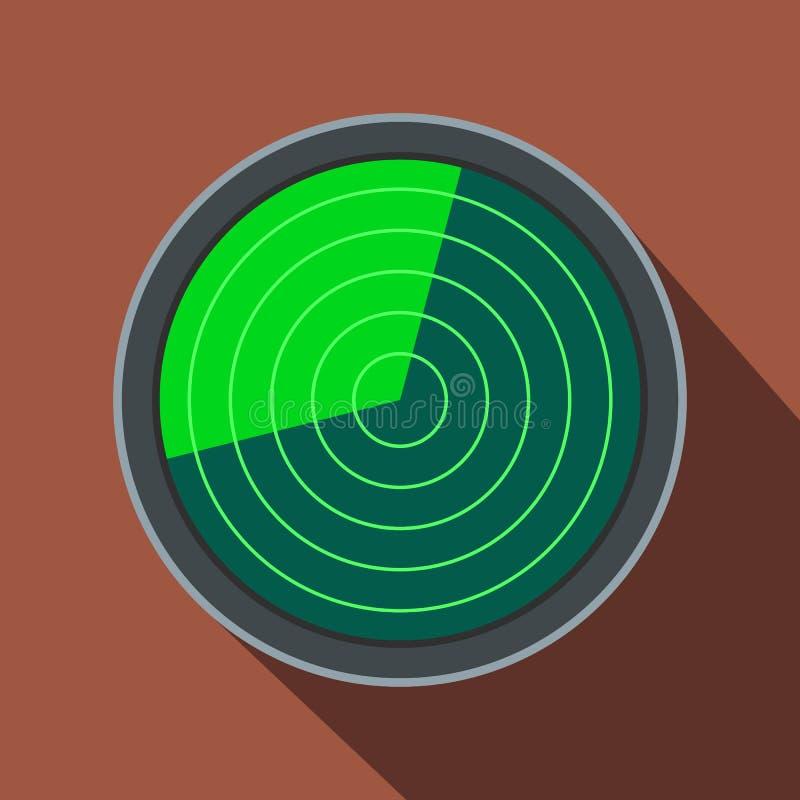 Radarowa płaska ikona z cieniem ilustracja wektor