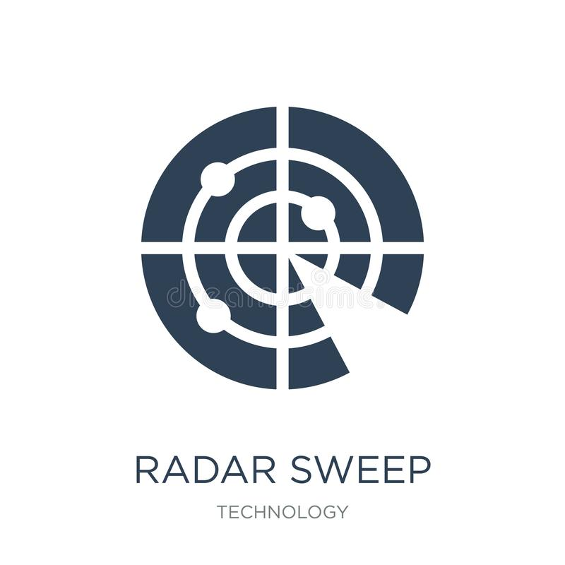radarowa zakres ikona w modnym projekta stylu radarowa zakres ikona odizolowywająca na białym tle radarowego zakresu wektorowa ik ilustracja wektor