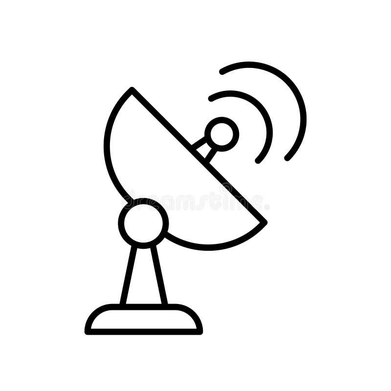 Radarowy ikona wektor odizolowywający na białym tła, radaru znaka, kreskowego lub liniowego znaku, elementu projekt w konturu sty ilustracji