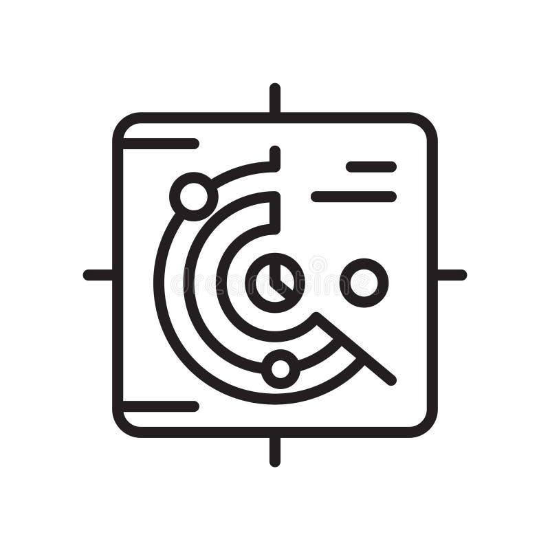 Radarowy ikona wektor odizolowywający na białym tle, radaru znak, Lin royalty ilustracja