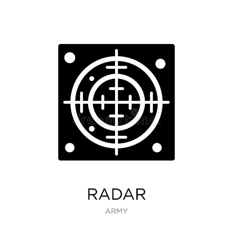 radarpictogram in in ontwerpstijl Radarpictogram op witte achtergrond wordt geïsoleerd die eenvoudige en moderne vlakke symbool v vector illustratie