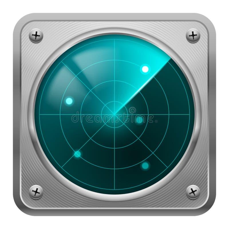Radarschirm im Metallrahmen. stock abbildung