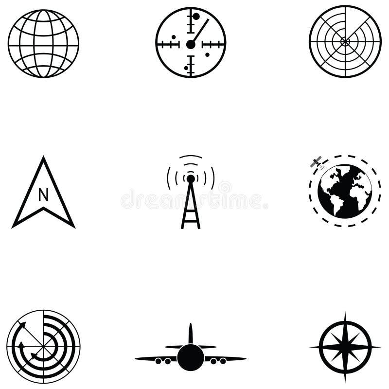 Radarsymbolsuppsättning vektor illustrationer