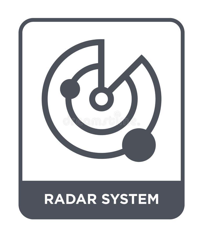 radarsystemsymbol i moderiktig designstil radarsystemsymbol som isoleras på vit bakgrund enkel symbol för radarsystemvektor och royaltyfri illustrationer