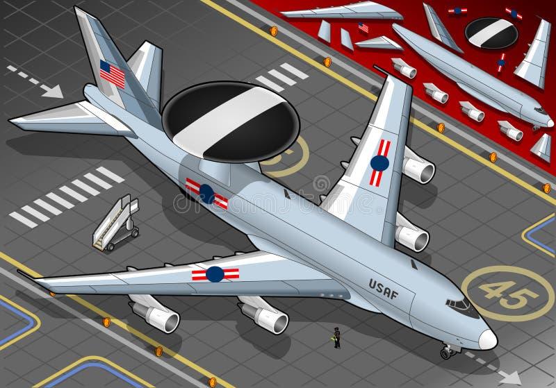 Radaru samolot Lądujący w Frontowym widoku royalty ilustracja