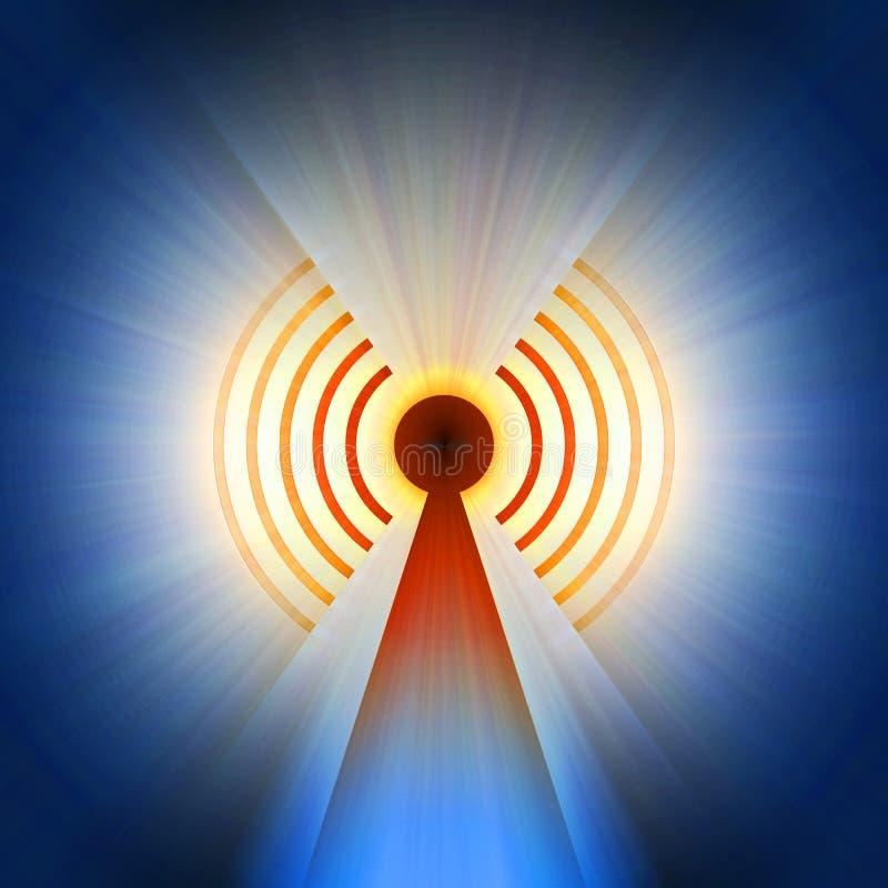 Radaru wierza znak z lekkim racą royalty ilustracja