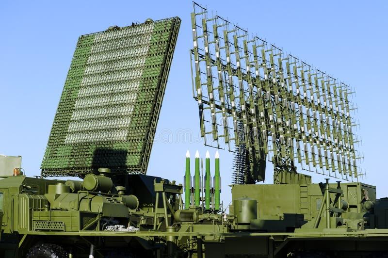 Radary i wyrzutnia rakietowa zdjęcie stock