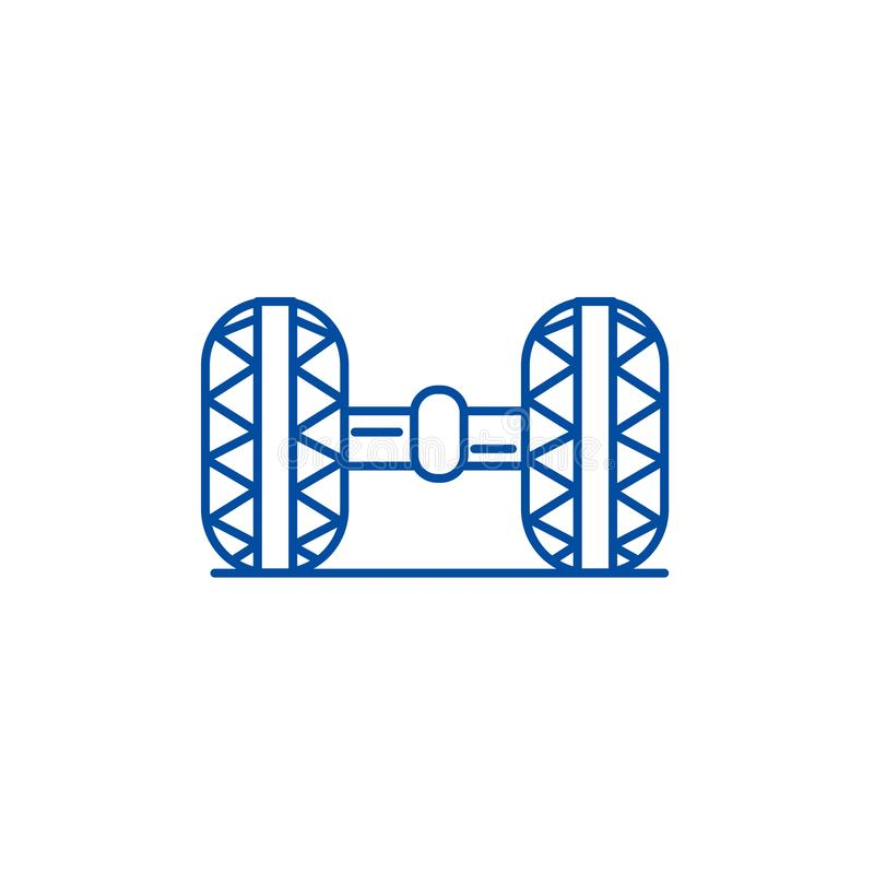 Radausrichtung, Garagenlinie Ikonenkonzept Radausrichtung, flaches Vektorsymbol der Garage, Zeichen, Entwurfsillustration stock abbildung