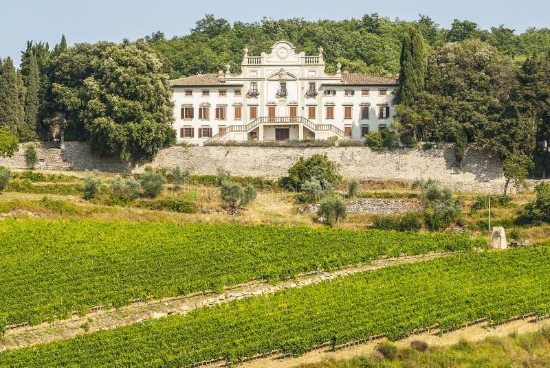 Radda в Chianti - старый дворец и виноградники стоковое изображение rf