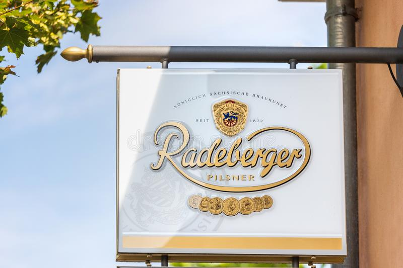 Radeberger beer sign in neuruppin germany. Neuruppin, brandenburg/germany - 27 08 19: radeberger beer sign in neuruppin germany royalty free stock photography