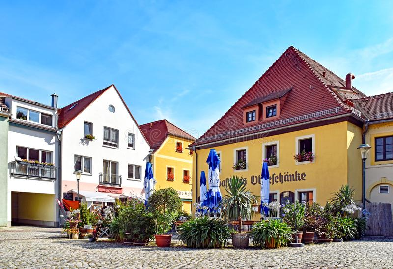 Houses and restaurants in Radebeul Kötzschenbroda Germany. Radebeul, Germany - September 3, 2016: Houses and restaurants in the district Kötzschenbroda royalty free stock photo